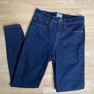 "J. Crew 9"" High-Rise Toothpick Jeans Dark Wash 27"